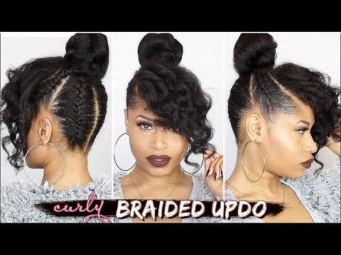 170 French Braided Curly Updo Natural Hair Tutorial Youtube In 2020 Braided Curly Updo Natural Hair Styles Natural Hair Tutorials