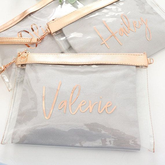 Clear Rose Gold Makeup Cosmetic Bag, Custom Monogram Bag Clear Toiletry Bag Clear Stadium Bags Personalized Clear Clutch, - B-CB02RG