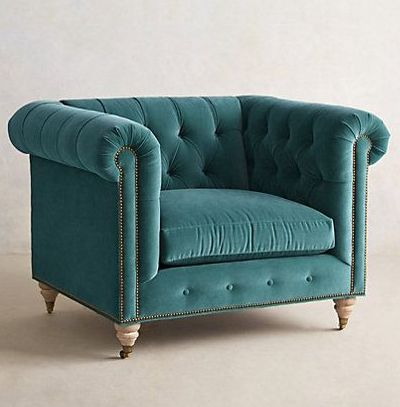 Modeled After Its 19th Century Forbearer, This Button Tufted Velvet Lyre  Chesterfield Armchair