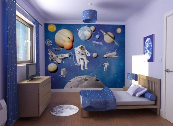 Superieur Blue Space Theme Wall Decor For Kids Bedroom, Photo Blue Space Theme Wall  Decor For