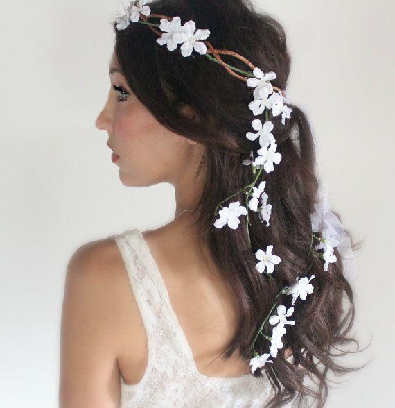 Wedding White Flower Crown: Back Cascade Wedding Flower Crown, White Whimsical Fairy