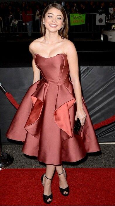 Sarah Hyland wearing an elegant red dress at the Vampire Academy