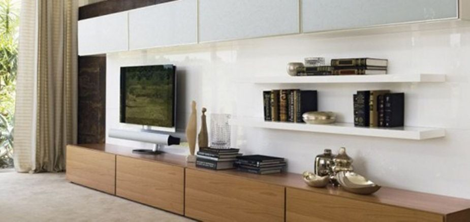 Wooden Pattern Tv Cabinet With Black Hdtv And Wall Bookcase On The ...