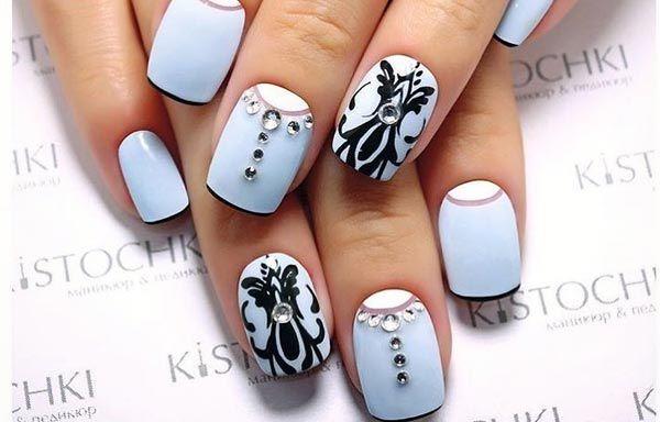 Uñas Decoradas Color Azul Celeste Nails Pinterest Nails Nail