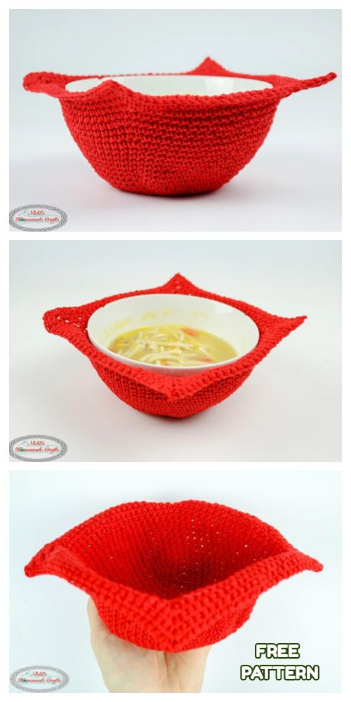 Bowl Cozy Hot Pad Free Crochet Patterns - DIY Magazine #crochetbowl