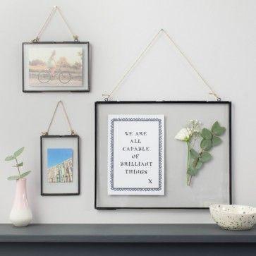 Glass Hanging Frame - Black | Pinterest | Hanging frames, Glass and ...
