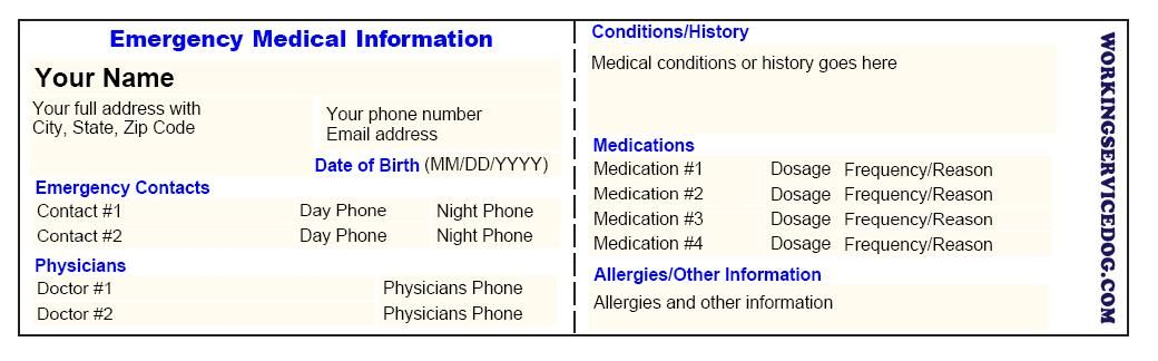 Free medical id printable card with