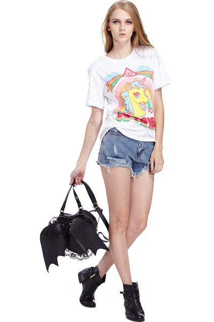 GO TO HELL&Unicorn Print White T-shirt