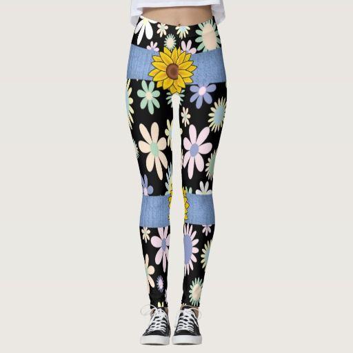 sunflower assorted flowers long leggings teenager