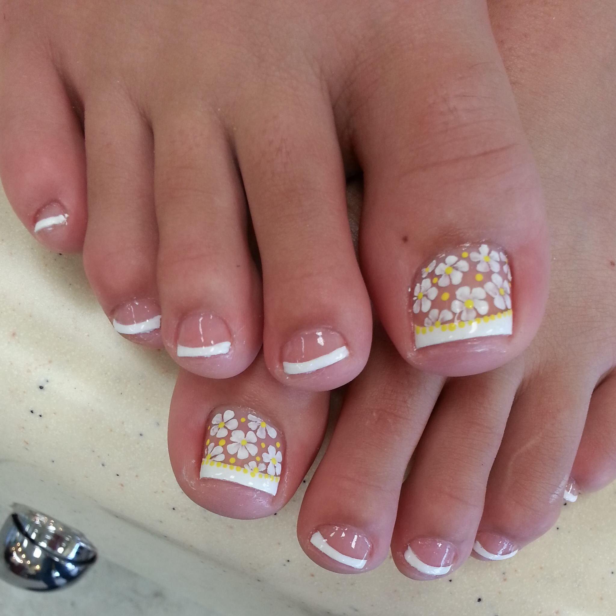White Tip Toe Nail Designs Pedicure Nails Pedicure Nail Art