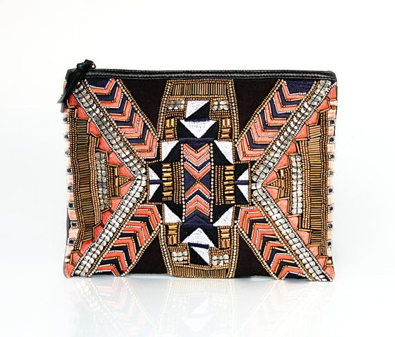 Aztec Hand embroidered Clutch/Case/Sleeve for iPad by ShaunDesign, $35.15