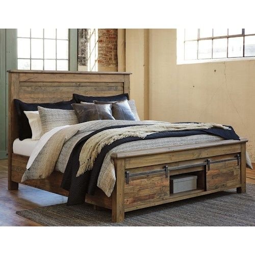 king panel storage bed with barn doors
