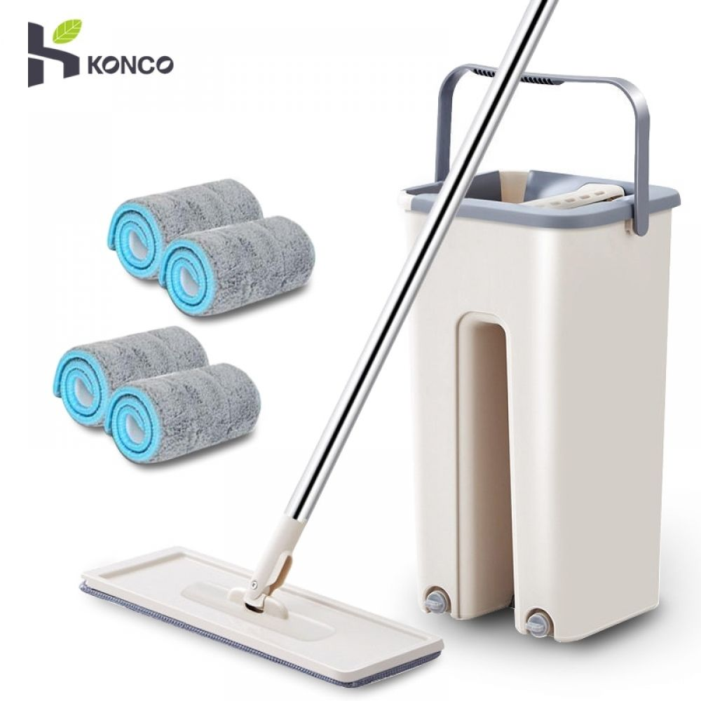 Konco Magic Cleaning Mops With Bucket Floors Squeeze Flat Mop With Water Home Kitchen Floor Cleaner House Cleaning Tools In 2020 Cleaning Mops Clean Kitchen Floor Floor Cleaner
