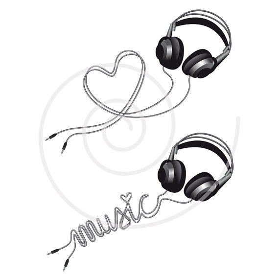 music love headphone with heart digital clip art by illustree. Black Bedroom Furniture Sets. Home Design Ideas