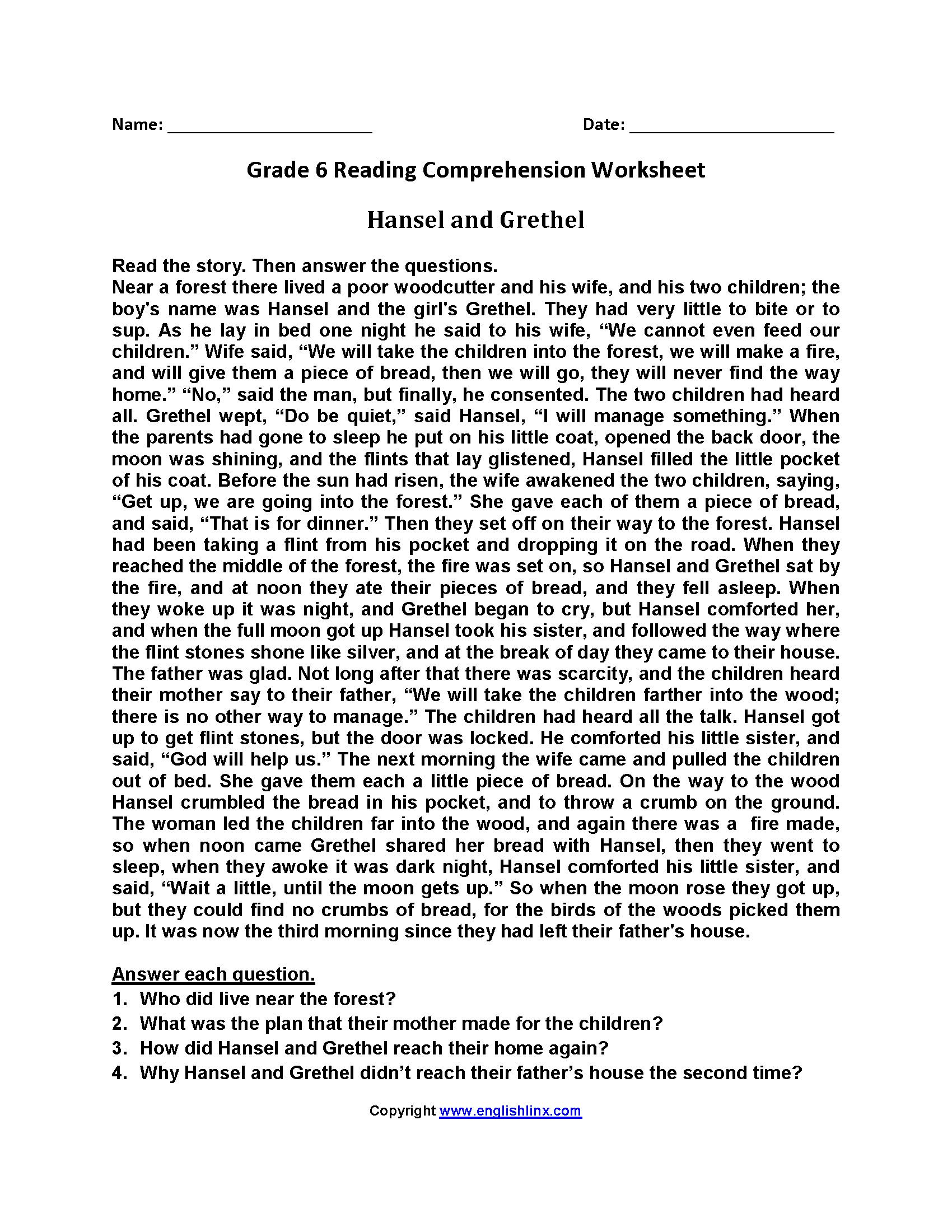 7 Year 6 Reading Comprehension In