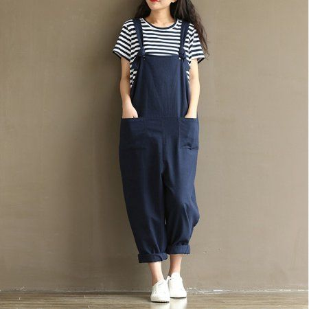 767e5ffeb31 ZANZEA Vintage Womens Jumpsuits Casual Loose Navy Cotton Strap Dungaree Trousers  Overalls Jumpsuit for Women