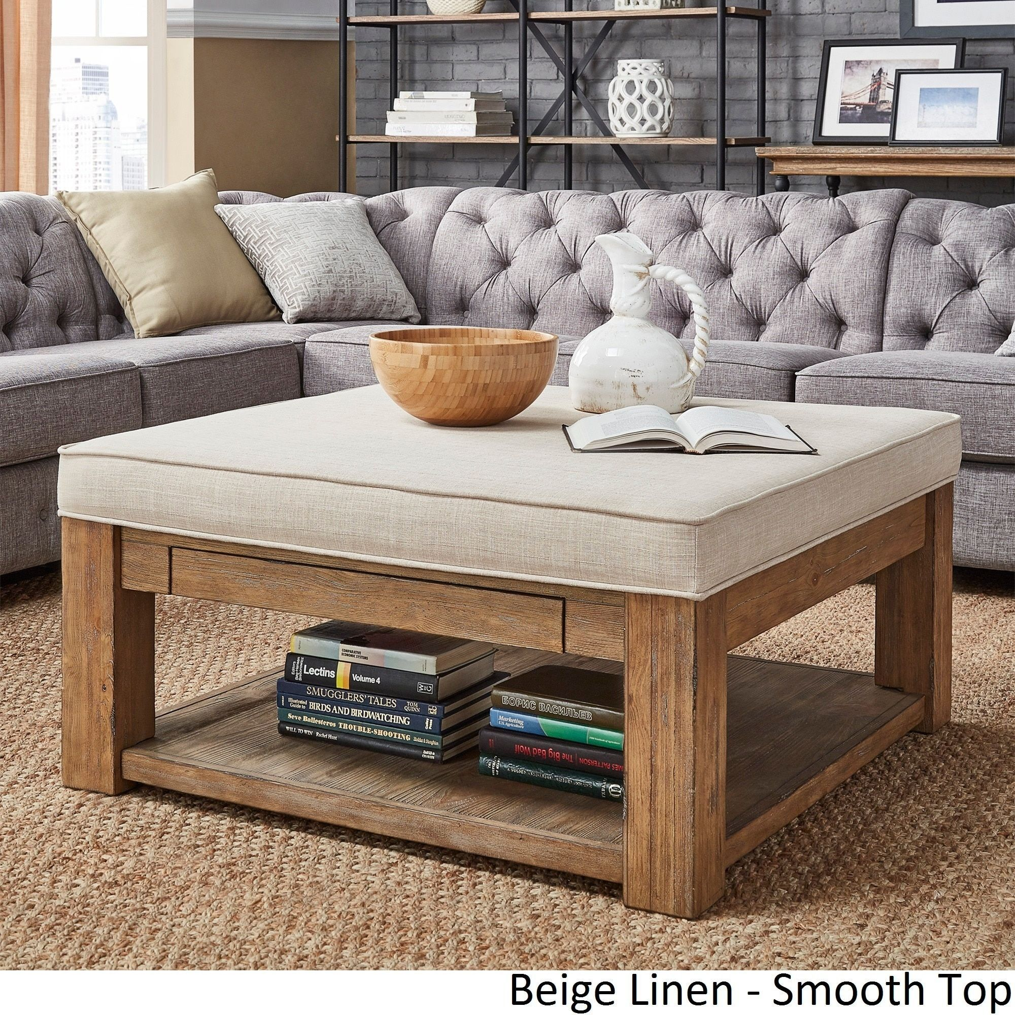 Lennon Pine Square Storage Ottoman Coffee Table by iNSPIRE Q Artisan by  iNSPIRE Q