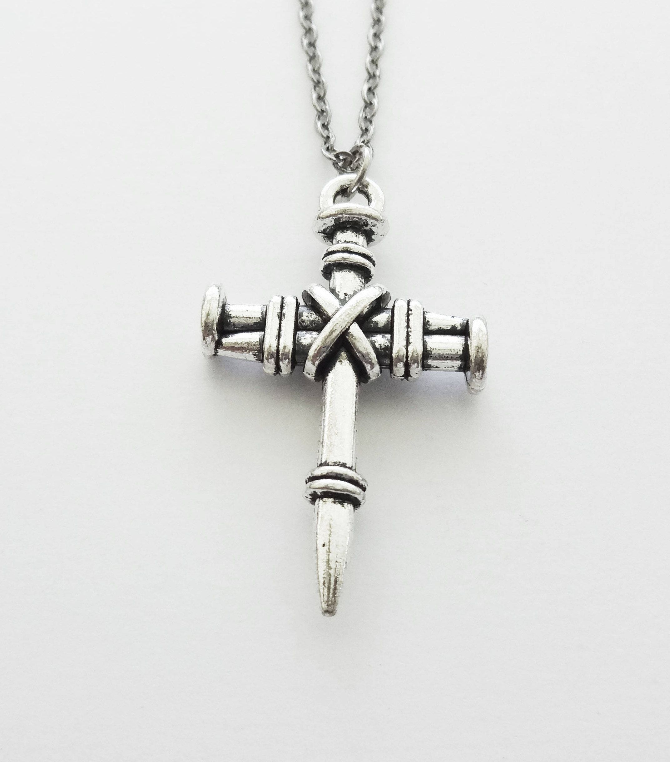 Cross Necklace, 3 Nail Cross, Christian, Religious Jewelry ...