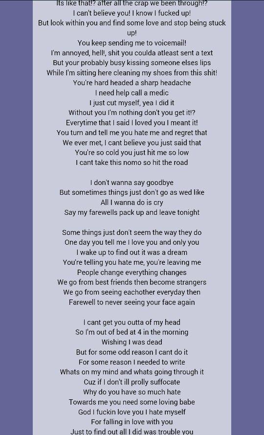 Say goodbye Eminem I feel like my ex wrote a letter and sent