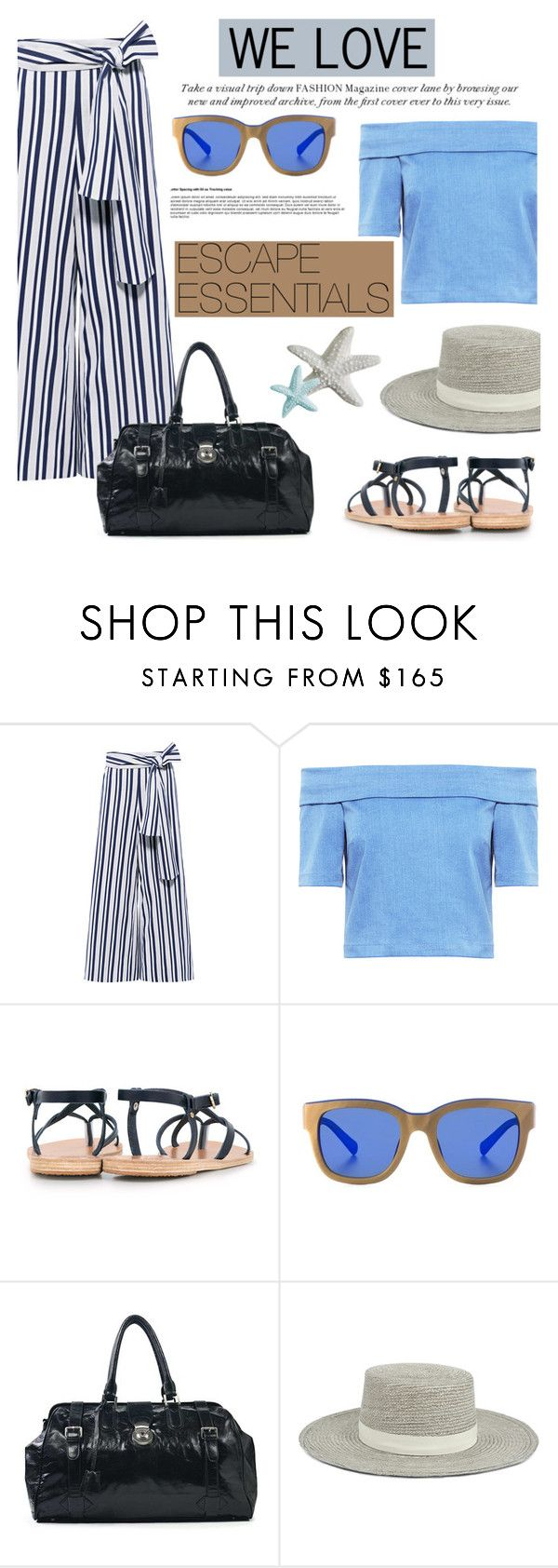 """We love: Escape Essentials"" by ifchic ❤ liked on Polyvore featuring Tanya Taylor, 3x1, Ancient Greek Sandals, Etnia Barcelona and Janessa Leone"
