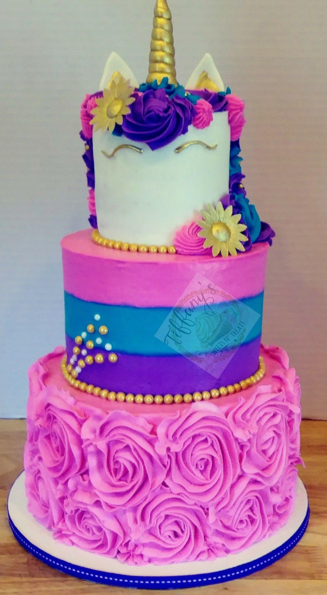 Unicorn Birthday Cake 3 Tier Buttercream Unicorn Cake