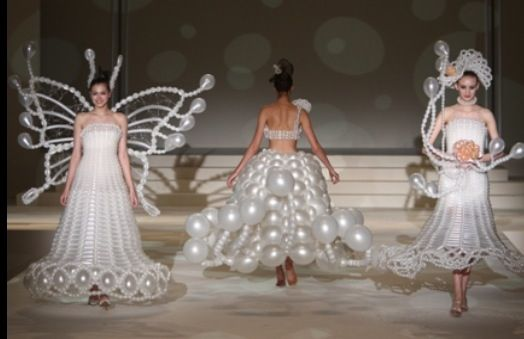 balloon dresses on the runway