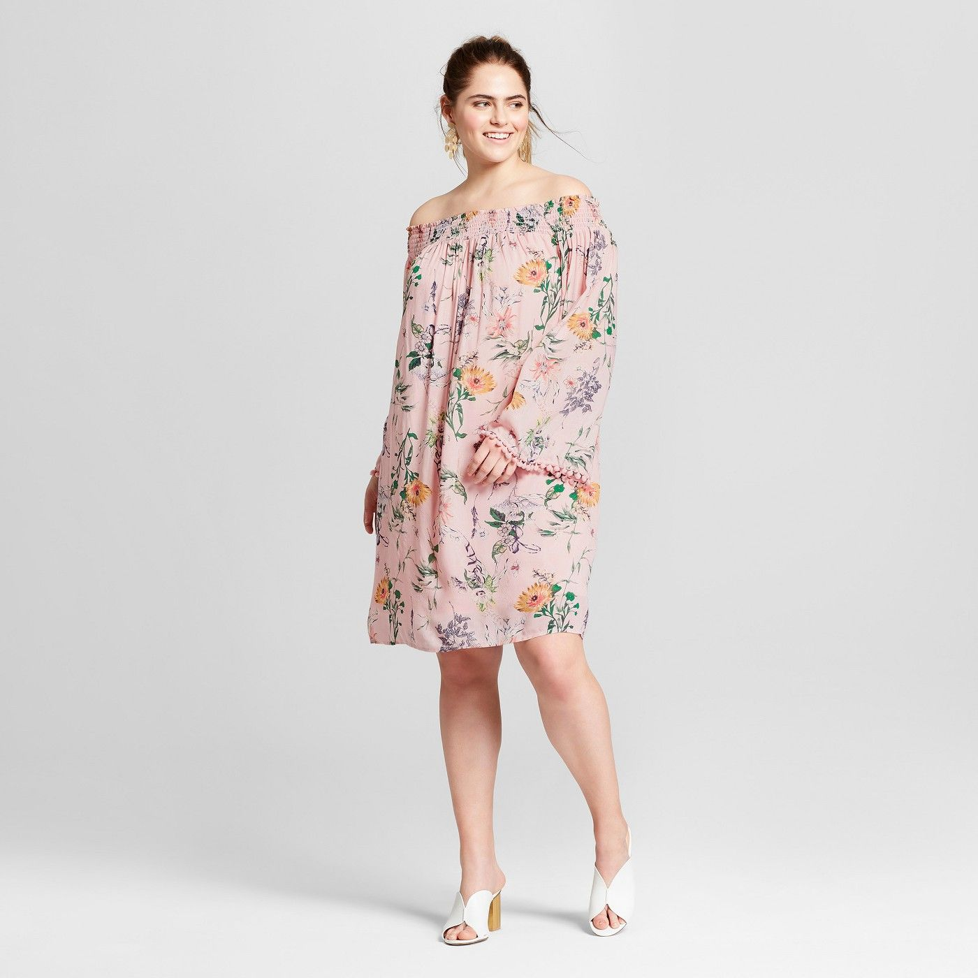9565fedf17b730 Women's Plus Size Floral Print Off the Shoulder Dress - Xhilaration™ Blush  - image 1 of 2