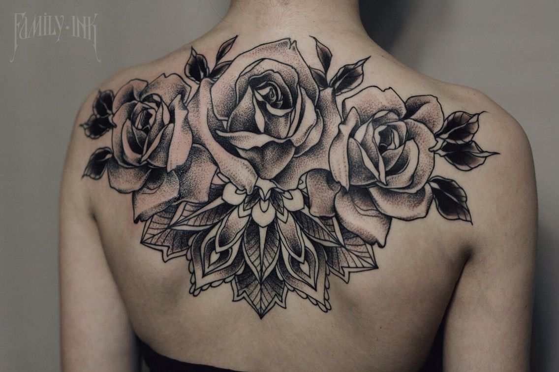 01e8afedd Roses and mandala tattoo on back | Tatoos | Back tattoo, Flower ...