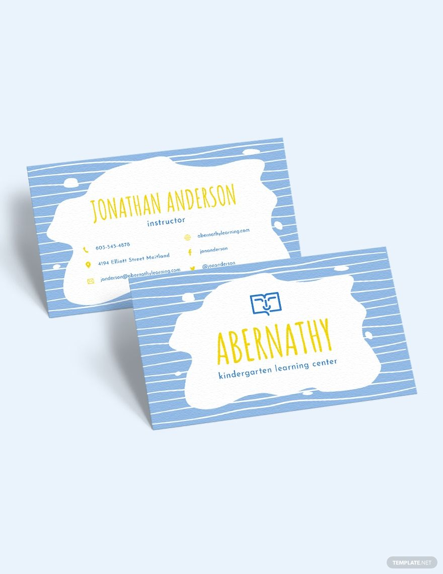 Kindergarten School Business Card Template Word Doc Psd Apple Mac Pages Illustrator Publisher Business Card Template Word Business Card Template Card Template