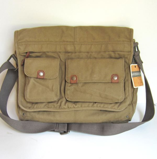 dc5f2fd15 [Example] Fossil Mens Leather and Canvas Travel E/W Laptop Messenger Bag    eBay
