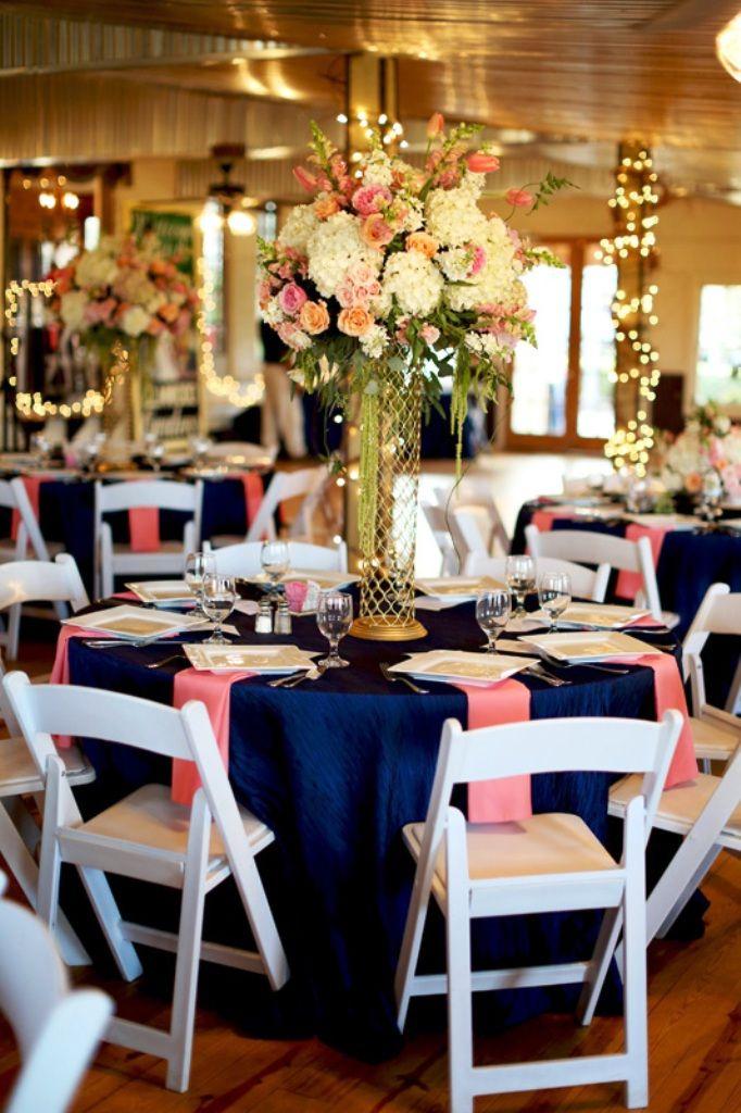 Navy Blue Blush Wedding Decorations