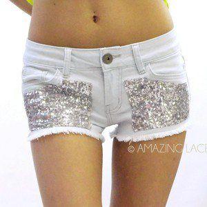 Seqiun High Waist Denim Jean Daisy Duke Cut Off Pocket Shorts Fringe Fashion on Wanelo