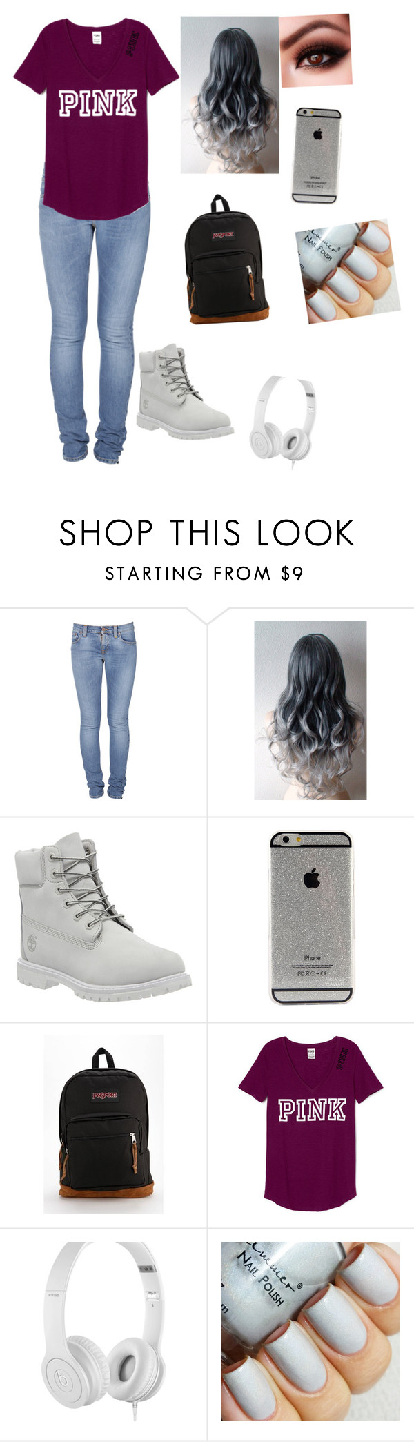"""Pink#2"" by oohsheyoungin ❤ liked on Polyvore featuring Nudie Jeans Co., Timberland, JanSport, Beats by Dr. Dre, women's clothing, women's fashion, women, female, woman and misses"