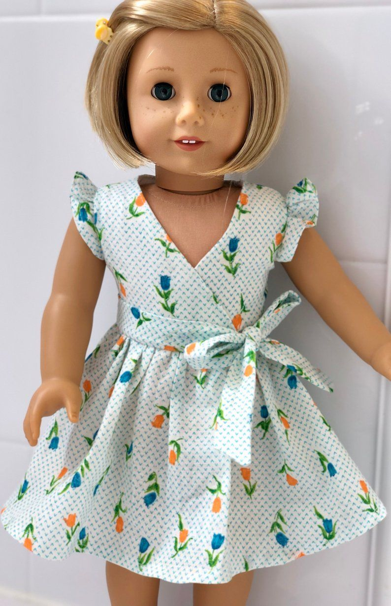 18 Girl Doll Faux Wrap-around Style with Tulips for Dolls Such as American Girl #dollclothes