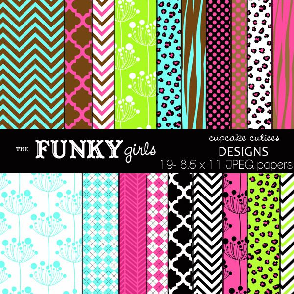 The Funky Girls Paper Set - great for invitations, cards and paper goods.