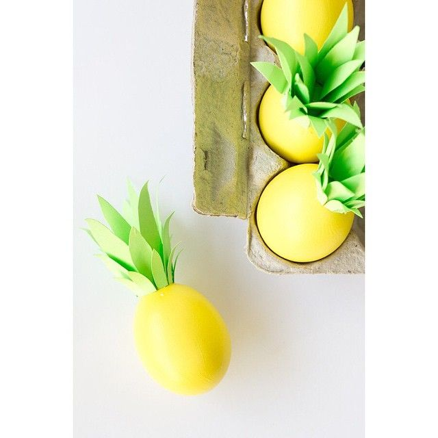 """""""We're """"dyeing"""" to hear how you spruced up some eggs this Easter! Check out these egggggcellent pineapple eggs by @studiodiy! And please forgive me for…"""""""