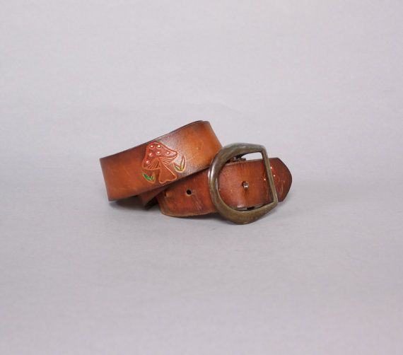 Vintage 70s Belt 1970s Tooled Painted Brown Mushrooms Leather Boho Belt Boho Belts Brown Leather Belt Leather