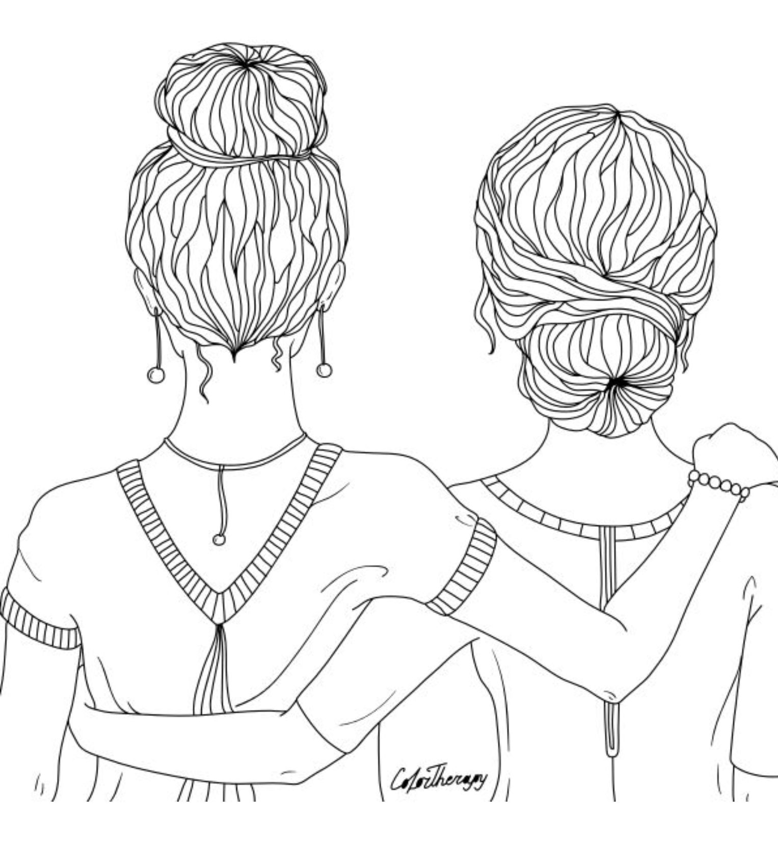 Best Friends Coloring Page Cute Coloring Pages Coloring Pages For Girls Best Friend Drawings