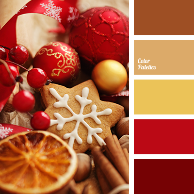 Bright Red Browns Christmas Palette Color Matching Of Cookie Gold House Schemes New Year Scheme Colors