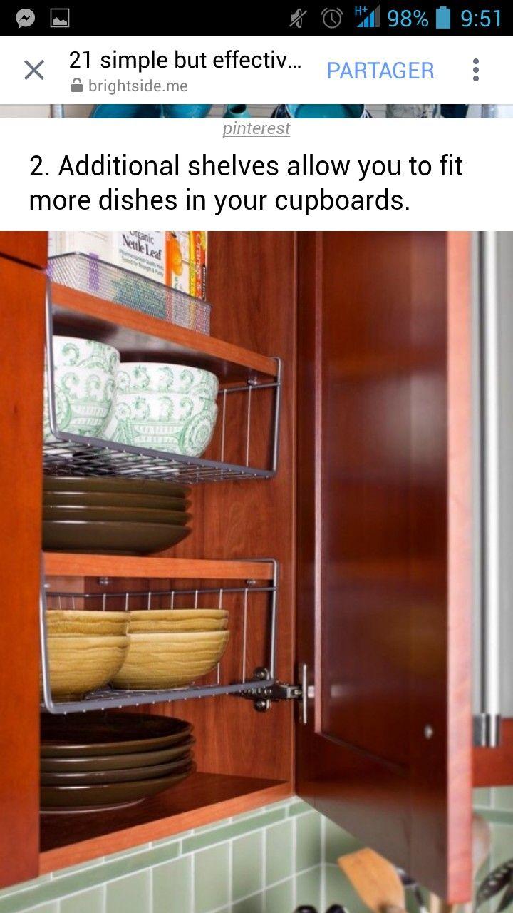 Ajouter des étagères en plus pour pouvoir ranger plus de vaisselle