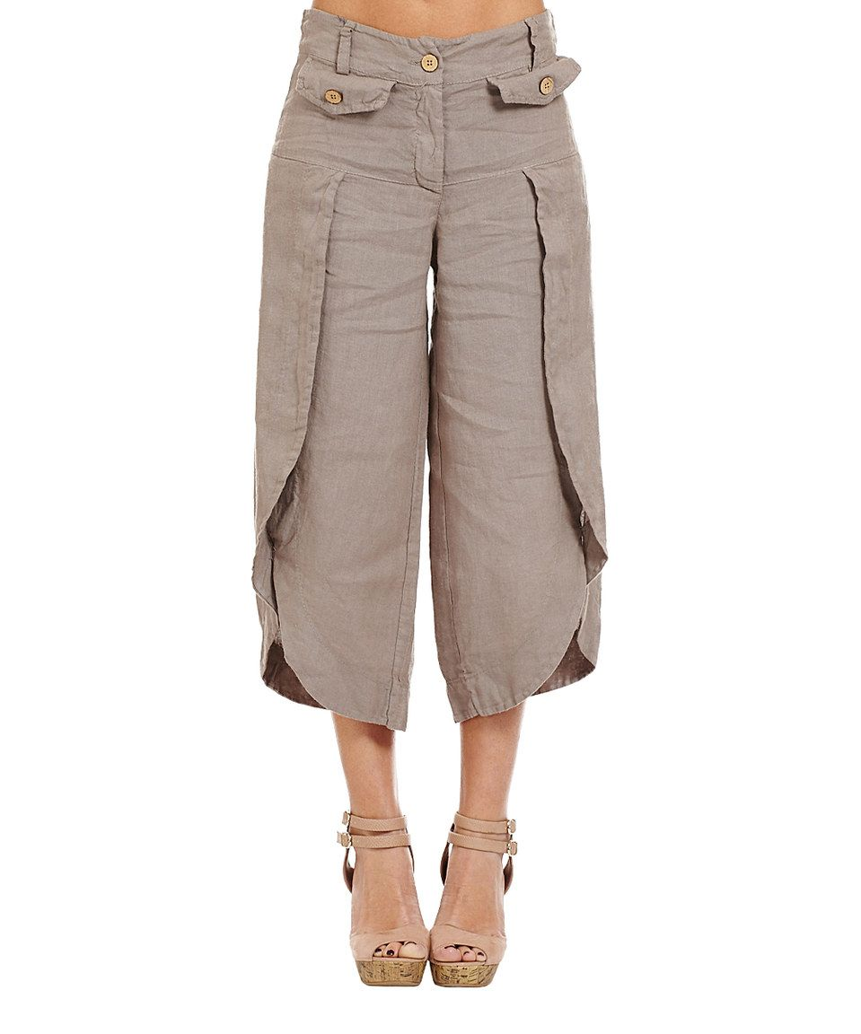 This Couleur Lin Taupe Tulip Hem Linen Crop Pants By Couleur Lin Is