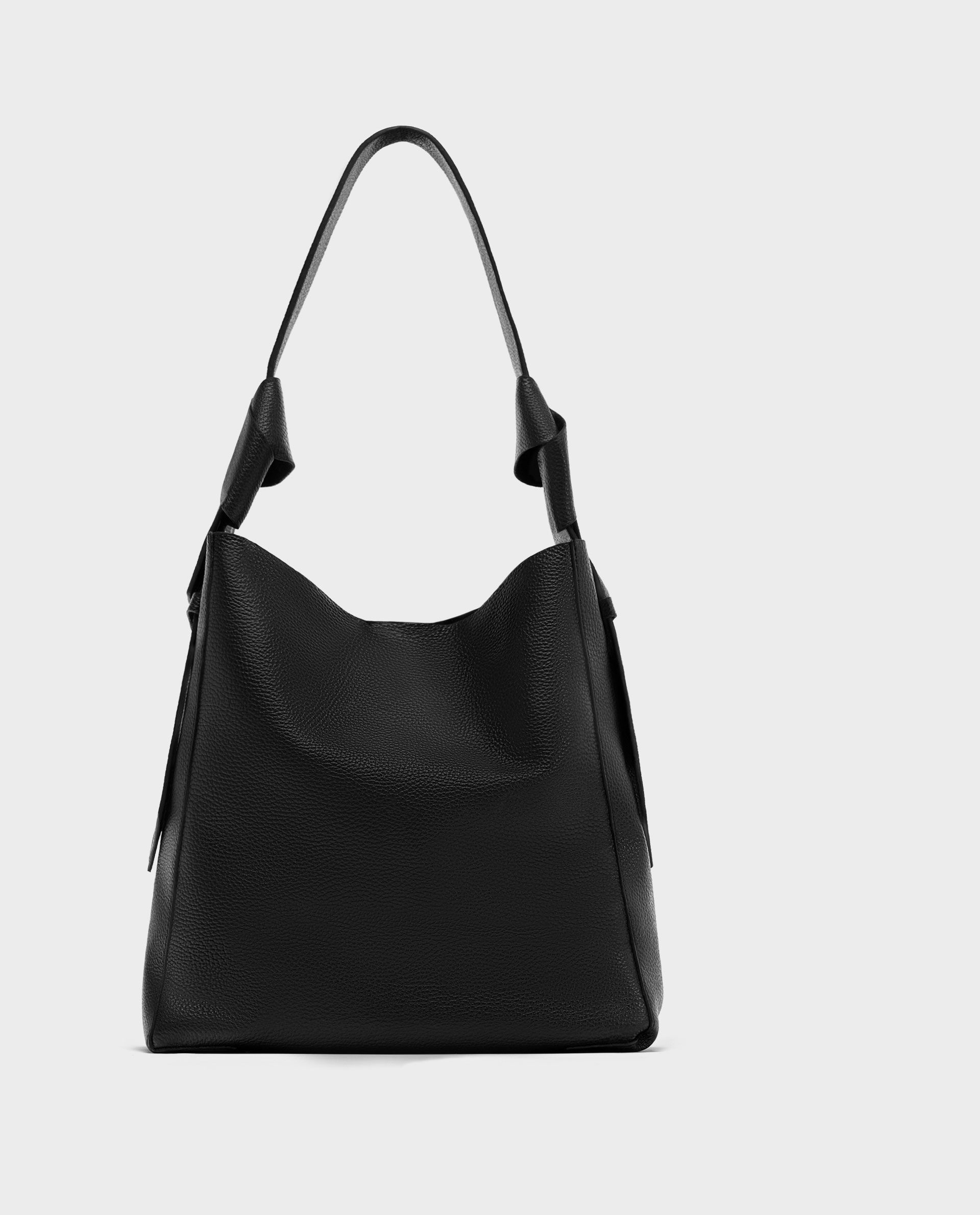 43a02c0a4f Image 11 of LEATHER BUCKET BAG WITH KNOTS from Zara