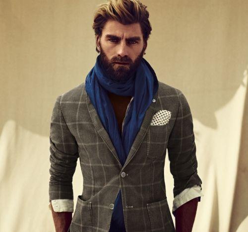 killer jacket, pocket square, and matching beard