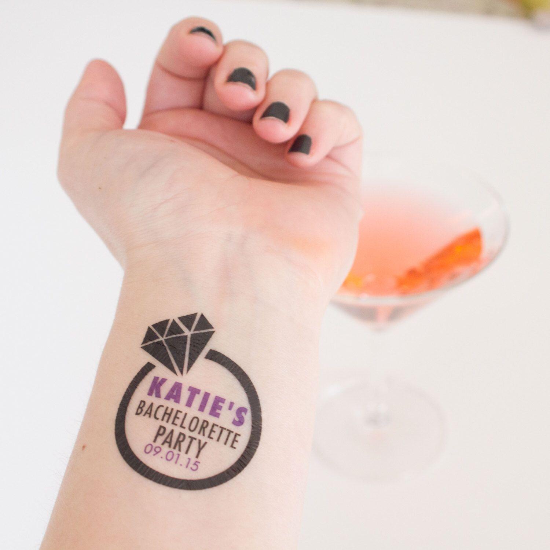 Bachelorette Temporary Tattoos, Diamond Engagement Ring Custom ...