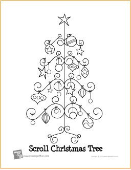 Scroll Christmas Tree Free Coloring Page httpmakingartfun