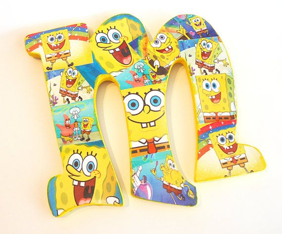 Spongebob Inspired Wooden Letter Art by TheRCB on Etsy, $9.00   The ...