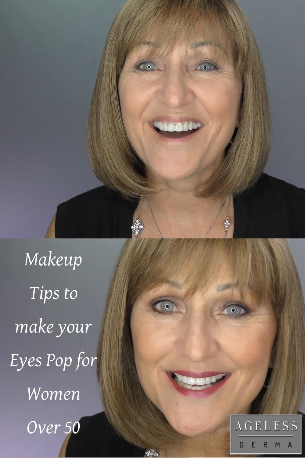 Makeup tips to make your eyes pop for women over 50 in