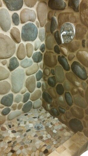 River stone shower. Feels like a spa. | Rustic shower, Stone ... on