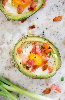 Avocado Baked Eggs with Bacon and Scallions
