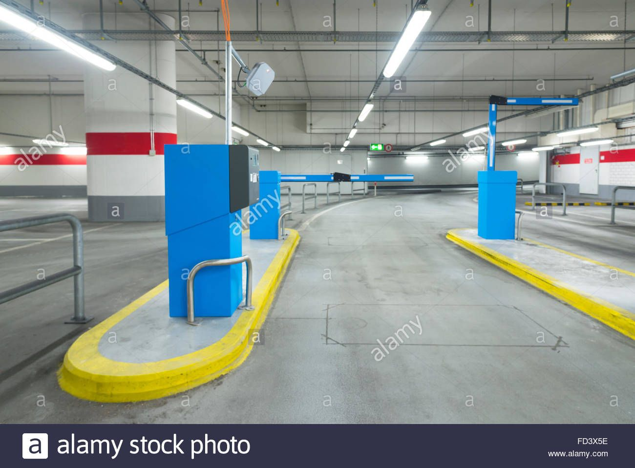 Exit Lane Of A Parking Garage With Barrier And Ticket Machines Stock Photo Parking Garage Stock Photos Photo